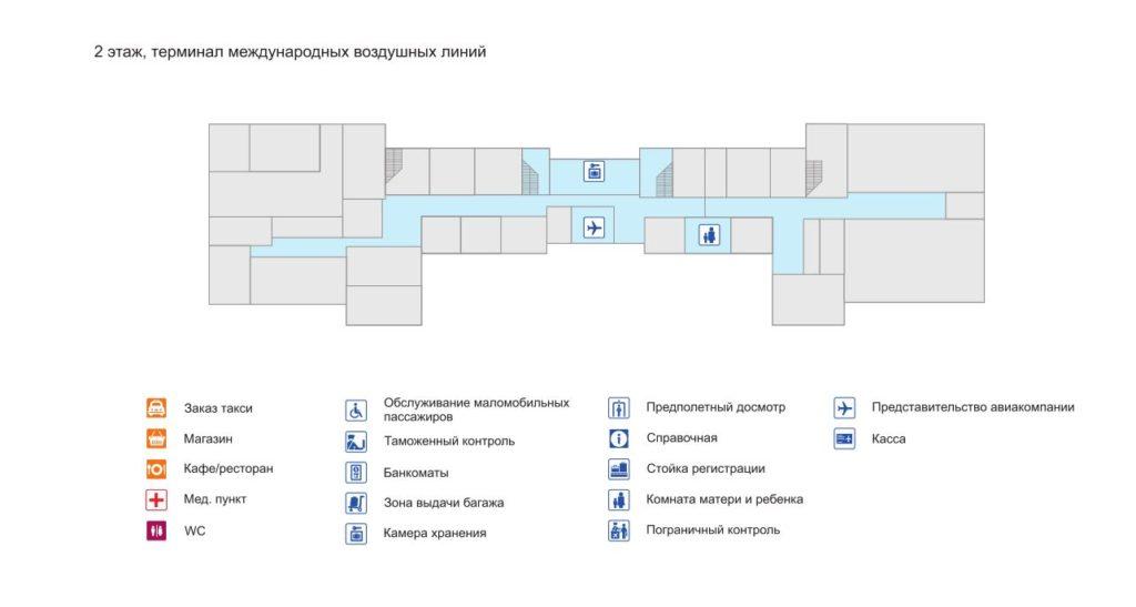 Схема терминала международных авиарейсов (2 этаж) нажмите для увеличения